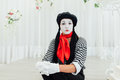 Portrait of young mime girl with black hat Royalty Free Stock Photo