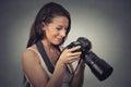 Portrait young photographer using reflex camera closeup of a a Stock Photo