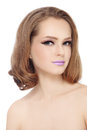 Portrait young pretty girl fancy lilac lipstick her lips white background Royalty Free Stock Photo