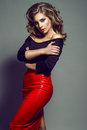Portrait of young pretty model with long wavy hair wearing black top and red leather skirt Royalty Free Stock Photo