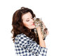 Portrait of a young pretty woman holding her lovely little cat isolated on a white background beautiful smiling brunette girl and Royalty Free Stock Photo