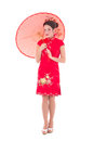 Portrait of young pretty woman in red japanese dress with umbrel umbrella isolated on white background Royalty Free Stock Photo