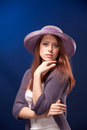 Portrait of young romantic woman in hat Royalty Free Stock Images