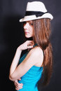Portrait of young sad girl in white hat Royalty Free Stock Photos