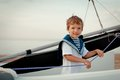 Portrait of young sailor near yacht outdoor Stock Photo