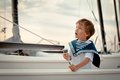 Portrait of young sailor near yacht outdoor Royalty Free Stock Image