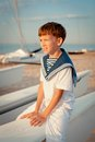 Portrait of young sailor near yacht outdoor Royalty Free Stock Photography