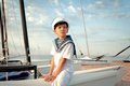 Portrait of young sailor near yacht outdoor Royalty Free Stock Images