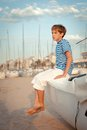 Portrait of young sailor near yacht Royalty Free Stock Photo