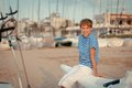 Portrait of young sailor near yacht outdoor Stock Image