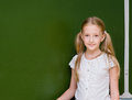 Portrait of young schoolgirl  near chalkboard Royalty Free Stock Photo