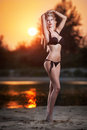 Portrait of young sexy blonde girl in bikini posing provocatively at the beach in sunset. Sensual attractive woman in swimsuit Royalty Free Stock Photo