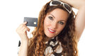 Portrait of young shopping female and credit card Stock Photo