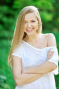 Portrait of young smiling beautiful woman outdoors Stock Photography