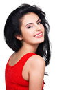 Portrait of young smiling woman beautiful face an in red dress Royalty Free Stock Images