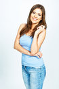 Portrait of young smiling woman isolated over white Royalty Free Stock Photo