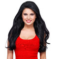 Portrait of young smiling woman with long brown hair beautiful face an in red dress Royalty Free Stock Photos