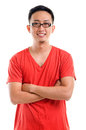 Portrait of young southeast asian man casual arms crossed isolated over white background Stock Images