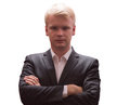 Portrait of young successful confident businessman arms crossed, isolated Royalty Free Stock Photo