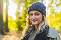 Portrait of young teenage girl enjoying autumn day Royalty Free Stock Photo