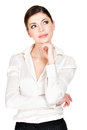 Portrait young thinking woman looks up isolated white background Stock Images