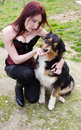 Portrait young woman australian shepherd dog Stock Photos