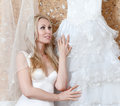 Portrait of the young woman beautiful bride with a veil and a wedding dress Stock Photography