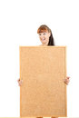 Portrait of young woman and blank board for text Royalty Free Stock Photo