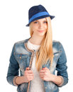Portrait young woman blue hat isolated white background Stock Images
