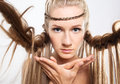 Portrait of young woman with braid hairdo Royalty Free Stock Photos