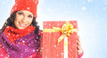 Portrait of a young woman with a christmas present and beautiful girl box the image is taken on snowy background Stock Images