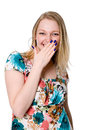 Portrait of young woman covering her mouth with hand isolated on white background Royalty Free Stock Images