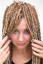 Portrait of young woman with  dreadlocks Royalty Free Stock Image