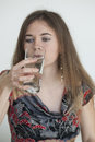 Portrait young woman drinking glass water Royalty Free Stock Images