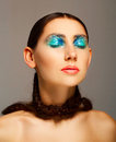 Portrait of young woman with fashion make up with blue eye and l Royalty Free Stock Photo
