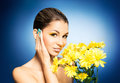 Portrait of a young woman holding a flower on blue and beautiful girl with sunflowers the image is taken background Royalty Free Stock Photos