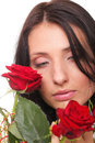 Portrait young woman holding a red rose Stock Image