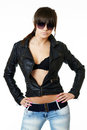 Portrait of young woman in a leather jacket Royalty Free Stock Image
