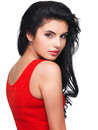 Portrait of young woman in red dress beautiful face an Royalty Free Stock Image