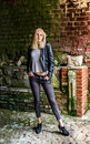Portrait of a young woman in ruins Royalty Free Stock Photo