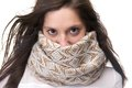 Portrait of a young woman with scarf covering face close up Royalty Free Stock Photography