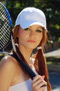 Portrait of young woman tennis player Royalty Free Stock Photography