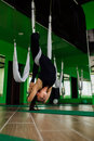 Portrait young women making antigravity yoga exercises. Aerial aero fly fitness trainer workout. white hammocks.