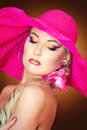 Portraite of a blonde girl with a hat Royalty Free Stock Photography