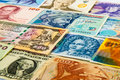 Portraits on the banknotes variety faces of international Stock Photography