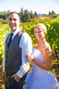Portraits of bride and groom a outdoors in a vineyard at a winery in oregon right after their ceremony vows Stock Photos