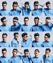 Portraits with different expressions of a young man Royalty Free Stock Images