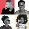Portraits of diverse people set