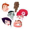 Portraits of human beings funny cartoon and vector isolated characters Royalty Free Stock Photos