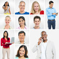 Portraits of multi ethnic people group posing Stock Images
